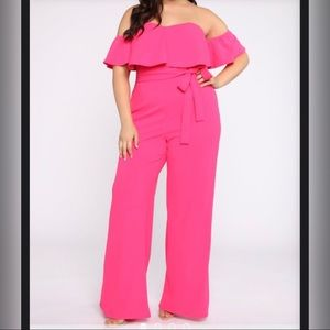 Fashion Nova Curve Jumpsuit 1X Hot Pink